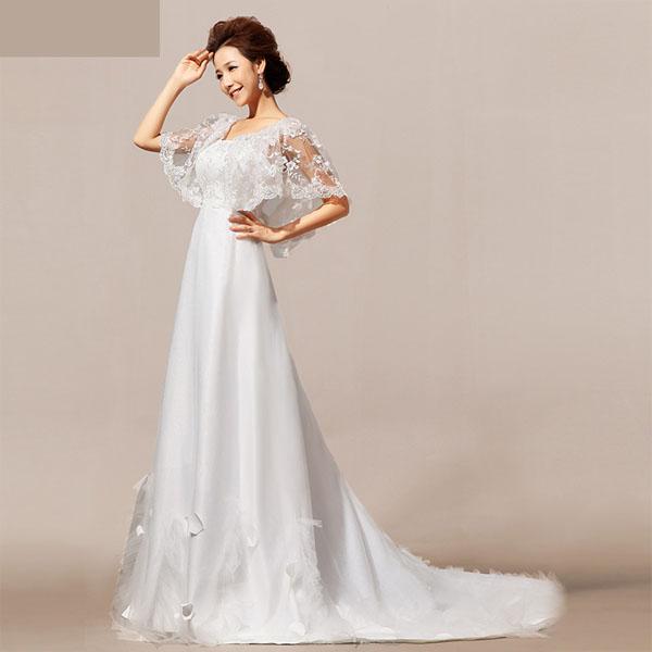 พรีออเดอร์ ชุดราตรียาวสีขาว แต่งลูกไม้คลุมไหล่ แขน Ctk Fashion Shopping Inspired By Lnwshop Com