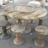 โต๊ะหินอ่อนลายความหยกเขียว ขนาด 130 เซนติเมตร เก้าอี้ 6 ตัว โต๊ะสูง 80 เซนติเมตร