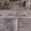 โต๊ะหินอ่อนสี่เหลี่ยม ขนาด กว้าง 60 เซนติเมตร ยาว 120 เซนติเมตร สูง 70 เซนติเมตร สีชมพูลาย