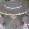 โต๊ะหินอ่อนขนาด 150 เซนติเมตร เก้าอี้ 10 โต๊ะสูง 80 เซนติเมตร + จานหมุน 70 เซนติเมตร
