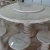 โต๊ะหินอ่อนขนาด 180 เซนติเมตร เก้าอี้ 12 โต๊ะสูง 80 เซนติเมตร + จานหมุน 90 เซนติเมตร