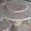 โต๊ะหินอ่อนขนาด 130 เซนติเมตร เก้าอี้ 6 โต๊ะสูง 80 เซนติเมตร + จานหมุน 70 เซนติเมตร