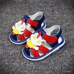 รองเท้าเด็ก รองเท้าแตะเด็ก รองเท้าเด็กวัยหัดเดิน รองเท้าเด็กเสียงดังปี๊บๆ สีน้ำเงินเข้ม size 18