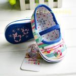 รองเท้าเด็กหญิง รองเท้าเด็กวัยหัดเดิน พื้นหนังสีน้ำเงิน รองเท้าเด็กแบรน์เนม petit cocori รองเท้าเด็ก ผ้าลายสายรุ่งสีน้ำเงิน พื้นกันลื่น ขนาด size 2