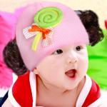 หมวกเด็ก หมวกปอยผมเด็ก หมวกไหมพรมติดปอยผม 2 ข้าง หมวกวิกผม หมวกไหมพรมฝ้ายเกาหลี น่ารักๆ แบบขนมลูกกวาดโบว์ สีชมพู