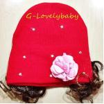 หมวกเด็ก หมวกปอยผมเด็ก หมวกไหมพรมติดปอยผม 2 ข้าง หมวกวิกผม หมวกไหมพรมฝ้ายเกาหลี น่ารักๆ แบบประดับเพชรและดอกไม้ - สีแดง
