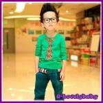 เสื้อผ้าเด็ก เสื้อยืดแขนยาว เสื้อยืดแขนยาวเด็ก เสื้อเด็กสไตล์เกาหลี พิมพ์ลายเน็กไท L