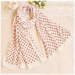 ผ้าพันคอผู้หญิง ผ้าพันคอสไตล์ญี่ปุ่น ผ้าชีฟอง สีครีมอ่อน ลายจุดแดง ขนาด กว้าง 50 ซม.ยาว 160 ซม.