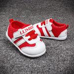 สีแดง รองเท้าเด็ก พื้นยางกันลื่น รองเท้าสไตล์กีฬา ไซต์ 19 (13.5)