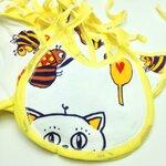 ผ้ากันเปื้อน แบบผ้าขนหนู สีเหลือง รูปผึ้งและแมว