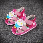 รองเท้าเด็ก รองเท้าแตะเด็ก รองเท้าเด็กวัยหัดเดิน รองเท้าเด็กเสียงดังปี๊บๆ สีชมพู size 18