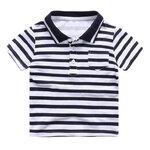 เสื้อเด็กคอโปโล เสื้อโปโลเด็ก สีขาวดำ size 130