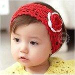 ผ้าคาดผมเด็ก ผ้าคาดผมเด็กอ่อน ผ้าคาดผมเด็กเล็ก ผ้าไหมพรมสีแดง