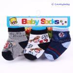 ถุงเท้าเด็ก ถุงเท้าเด็กทารก ถุงเท้าเด็กอ่อน ถุงเท้าเด็กเล็ก แพค 3 คู่ ขนาด 6-18 เดือน แบบ C