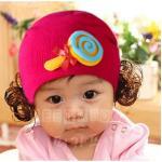 หมวกเด็ก หมวกปอยผมเด็ก หมวกไหมพรมติดปอยผม 2 ข้าง หมวกวิกผม หมวกไหมพรมฝ้ายเกาหลี น่ารักๆ แบบขนมลูกกวาดโบว์ สีชมพูเข้ม
