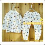 เสื้อผ้าเด็ก ชุดเด็กทารก ชุดเด็กอ่อน เสื้อแขนยาว กางเกงขายาว สีครีมลายลูกสุนัขสีน้ำตาล