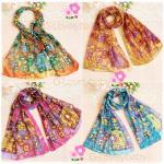 ผ้าพันคอผู้หญิง ผ้าพันคอสไตล์ญี่ปุ่น ผ้าชีฟอง ขนาด กว้าง 50 ซม.ยาว 160 ซม.