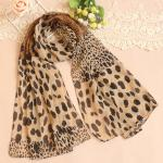 ผ้าพันคอผู้หญิง ผ้าพันคอสไตล์ญี่ปุ่น ผ้าพันคอชีฟอง ลายเสือดาว ขนาด กว้าง 50 ซม.ยาว 160 ซม. สีกากีดำ