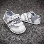 สีเทา รองเท้าเด็ก พื้นยางกันลื่น รองเท้าสไตล์กีฬา ไซต์ 19 (13.5)