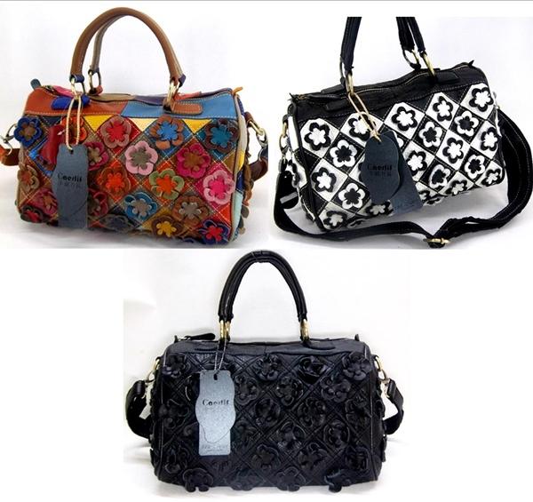 Pre-oder กระเป๋าสะพายหนังแท้ กระเป๋าวินเทจ สไตล์โบฮีเมียน แฟชั่นมาใหม่ปี 2016 มี 3 สี ดำ สีขาวดำ และสีผสม