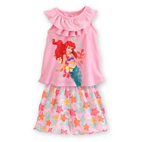zNightshirt and Shorts Sleepwear Ariel Set for Girls (Size4)