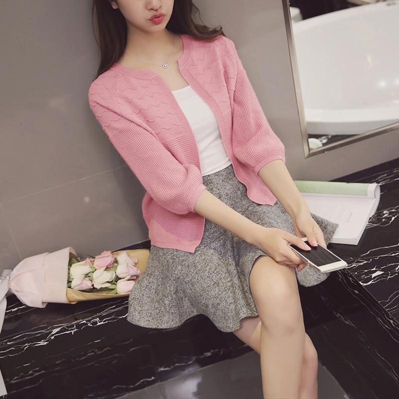 เสื้อคลุมแฟชั่นไหมพรม เปิดหน้าอก สีชมพู