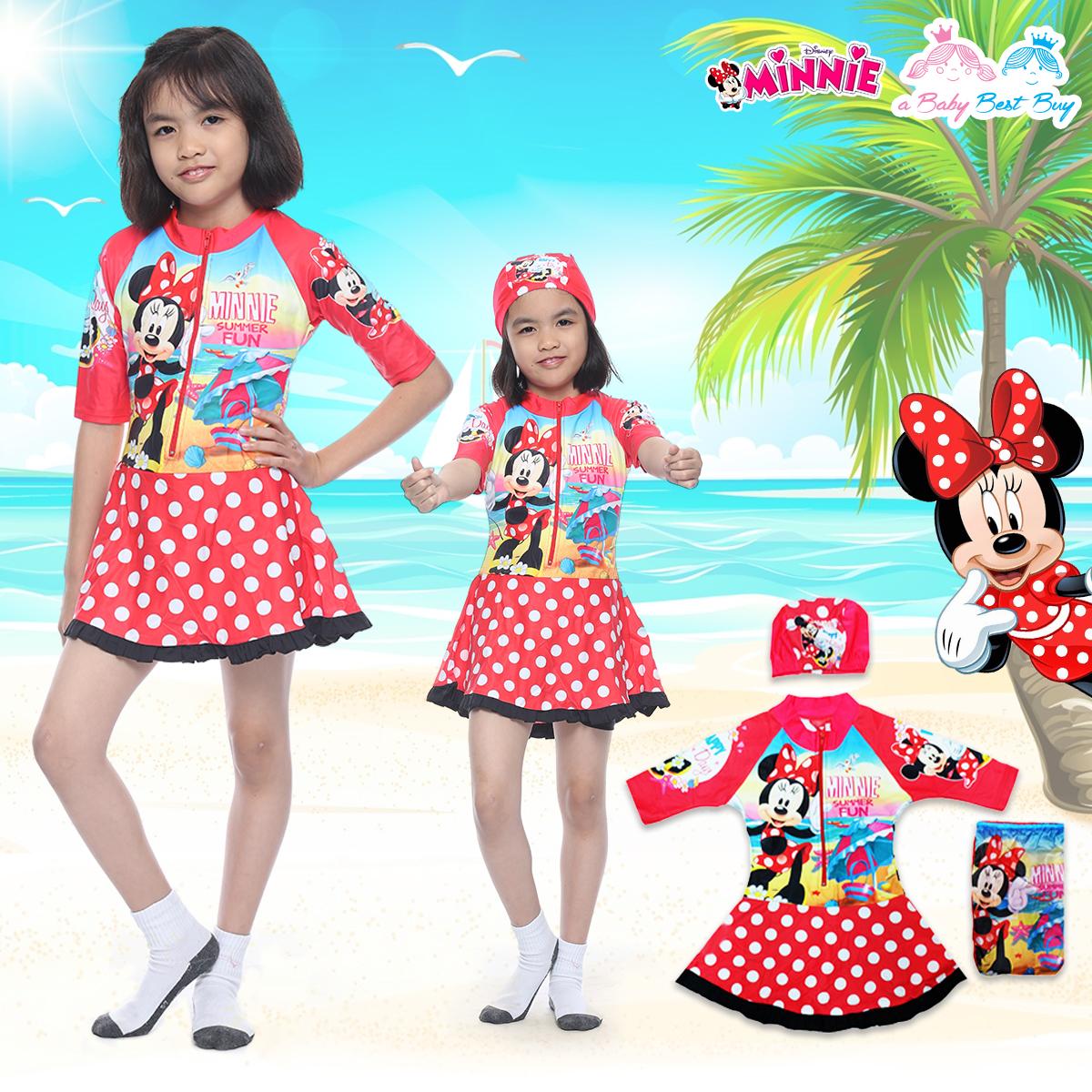 """""""( For Kids ) Swimsuit for Girls ชุดว่ายน้ำ เด็กผู้หญิง Disney Minnie Mouse บอดี้สูทเสื้อแขนยาว กระโปรงกางเกง มาพร้อมหมวกว่ายน้ำและถุงผ้า สุดน่ารัก ใส่สบาย ดิสนีย์แท้ ลิขสิทธิ์แท้"""