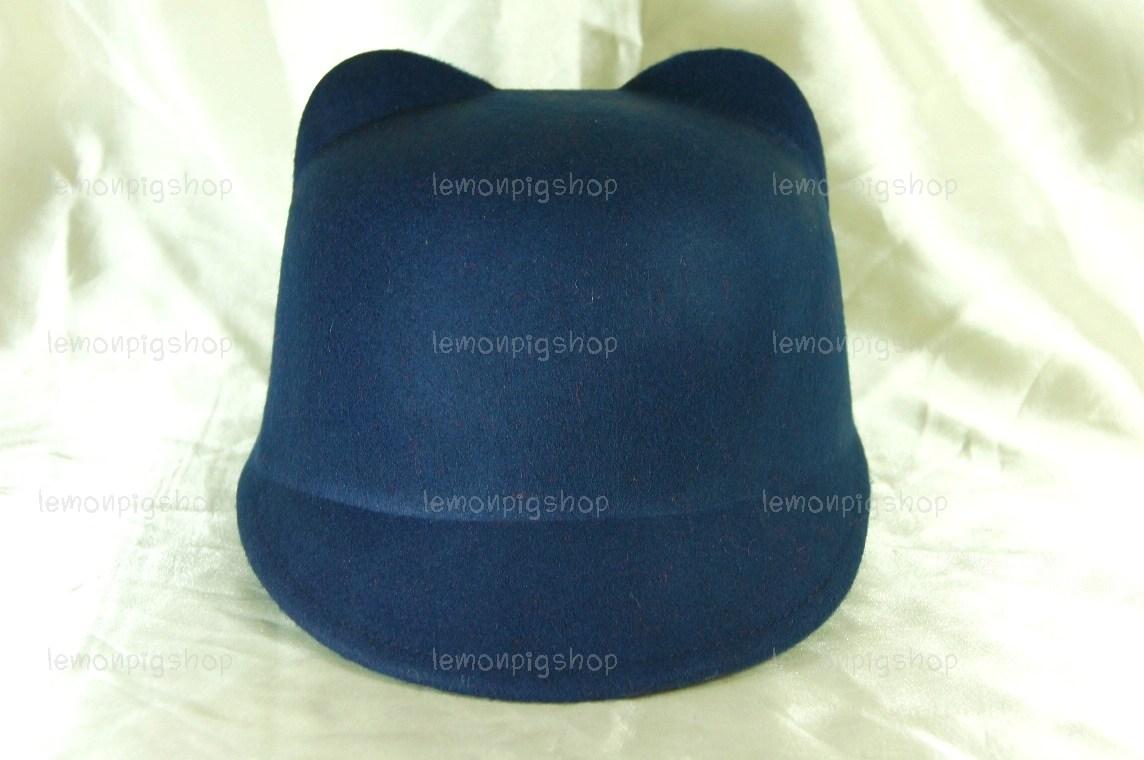 หมวกหูแมว ปีกหน้าทรงจ็อกกี้ สีน้ำเงินกรมท่า !!!