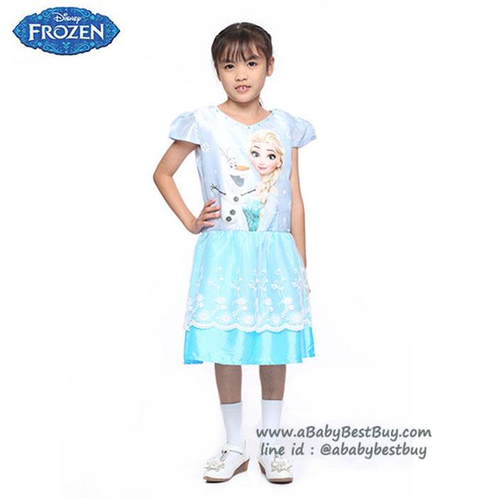 (4-6-8-10)ชุดเดรสราตรีคอกว้างสีฟ้า แขนสั้น ลายเจ้าหญิงโฟรเซ่น ดิสนีย์แท้ ลิขสิทธิ์แท้ (สำหรับเด็ก4-6-8-10 ปี)