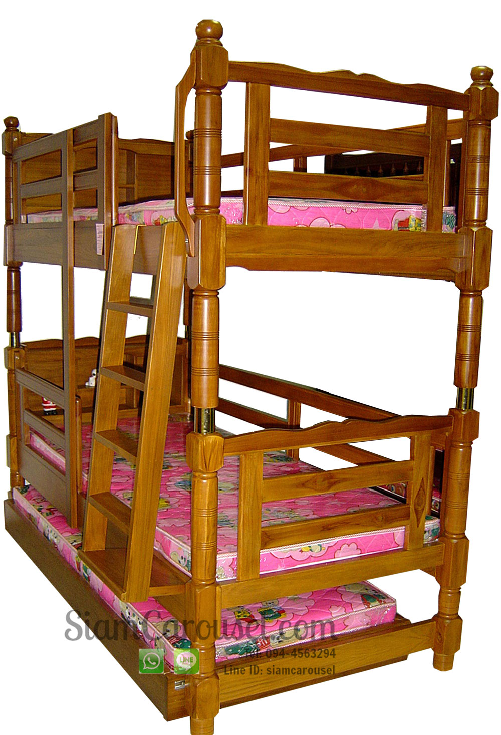 เตียงนอน 3 ชั้น หัวเตียงมีที่วางของ ขากลึง