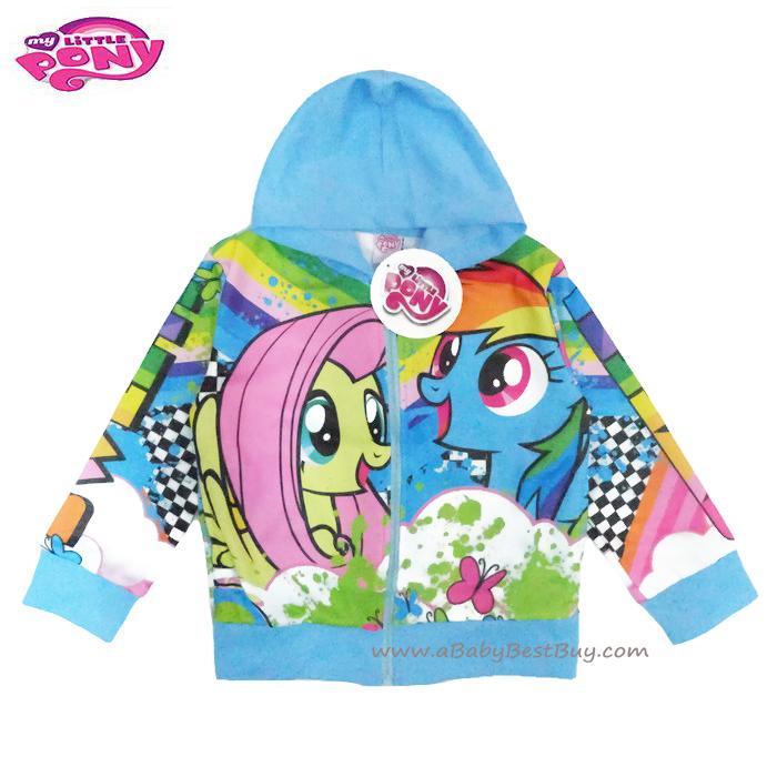 ฮ (สำหรับเด็ก4-6-8-10 ปี) Jacket My Little Pony for Girl เสื้อแจ็คเก็ต เสื้อกันหนาว เด็กผู้หญิง สีฟ้า สกรีนลาย มายลิตเติ้ลโพนี่ รูดซิป มีหมวก(ฮู้ด) ใส่คลุมกันหนาว กันแดด ใส่สบาย ลิขสิทธิ์ฮาสโบแท้ โพนี่แท้