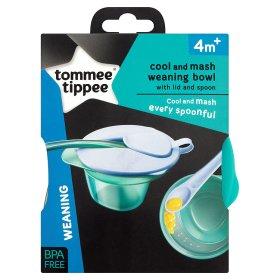 Tommee Tippee ชุดชามบดที่มาพร้อมกับฝาปิดและช้อน BPA free