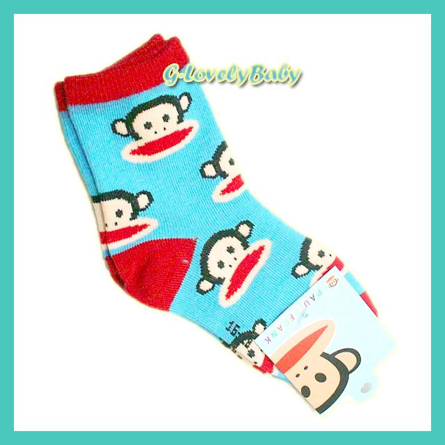 ถุงเท้าเด็ก ถุงเท้าพอลแฟรงค์ ลายลิง น่ารัก ขนาด (M) 13-15 cm
