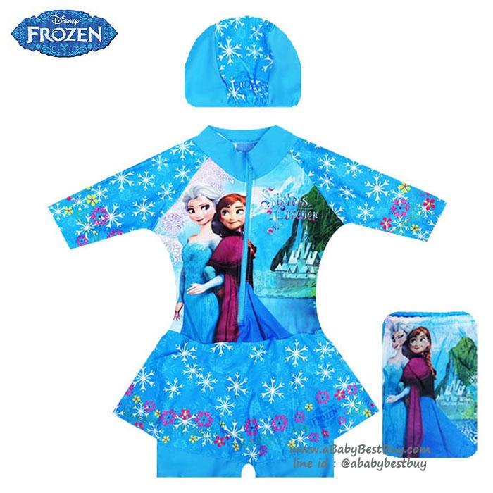 Size XS - Swimsuit for Girls ชุดว่ายน้ำ เด็กผู้หญิง Disney Frozen บอดี้สูทเสื้อแขนยาว กระโปรงกางเกง สีฟ้า สกรีนลาย เจ้าหญิง เอลซ่า โอลาฟ มาพร้อมหมวกว่ายน้ำและถุงผ้า สุดน่ารัก ใส่สบาย ดิสนีย์แท้ ลิขสิทธิ์แท้(สำหรับเด็กอายุ 6เดือน-2 ปี)