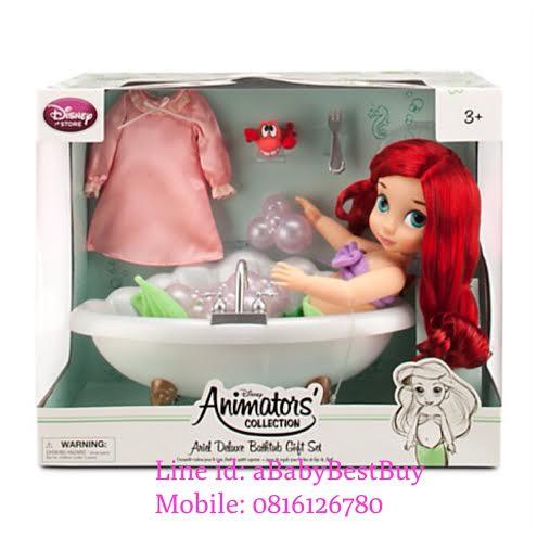 z Disney Animators' Collection Ariel Doll Deluxe Bathtub Gift Set - 16'' ตุ๊กตาดีสนีย์ แอนิเมเตอร์ เจ้าหญิงแอเรียล เซ็ตพร้อมอ่างสีมุก