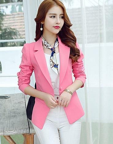 เสื้อสูท ผ้าหนาอย่างดี มีซับในเย็บติดไร้ตะเข็บ กระเป๋าหลอก R133 สีชมพู