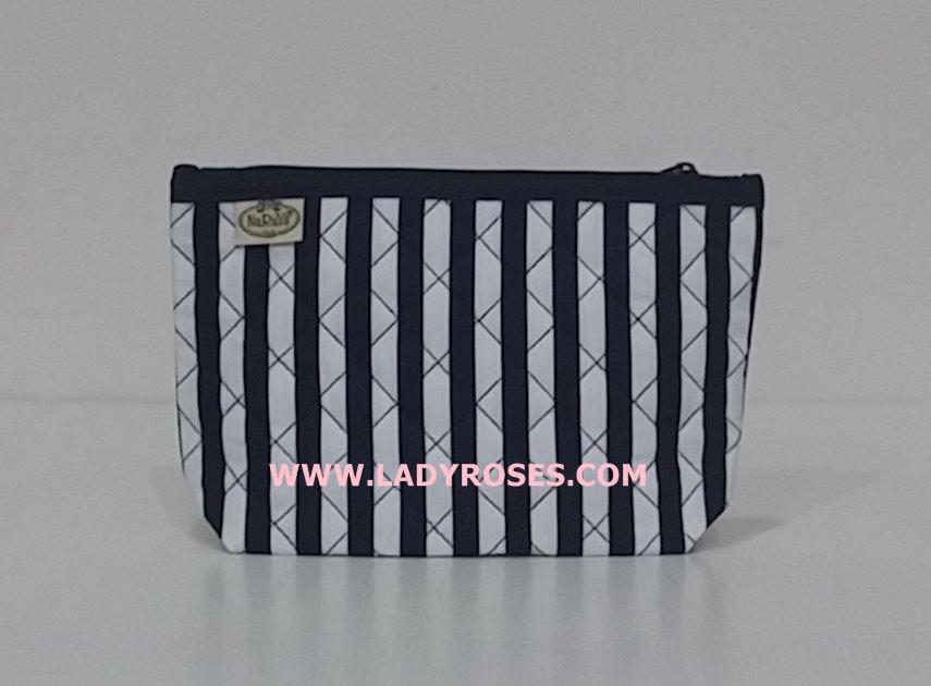 กระเป๋าเครื่องสำอางค์ นารายา ผ้าคอตตอน ลายทาง น้ำเงิน-ขาว (กระเป๋านารายา กระเป๋าผ้า NaRaYa)
