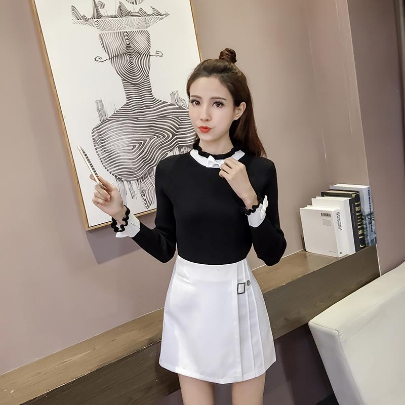 เสื้อแฟชั่นเกาหลี มีเข็มกลัดโบว์ ตกแต่ง สามารถถอดออกได้ สีดำ