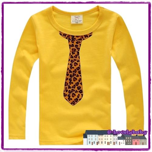 เสื้อผ้าเด็ก เสื้อยืดแขนยาว เสื้อยืดแขนยาวเด็ก เสื้อเด็กสไตล์เกาหลี พิมพ์ลายเน็กไท XXL
