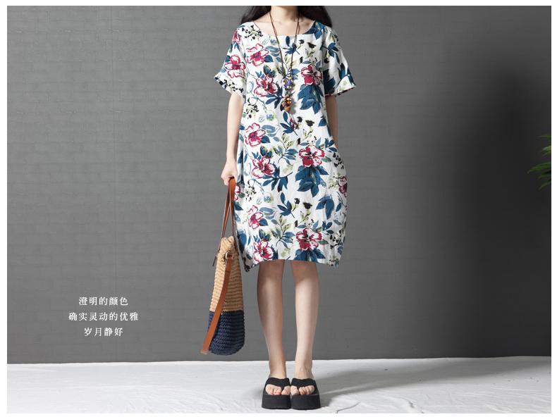 เดรสแฟชั่นผ้าฝ้ายผสมลินิน พิมพ์ลายดอกสีสดคมชัด มีกระเป๋าข้าง สีขาวลายดอก