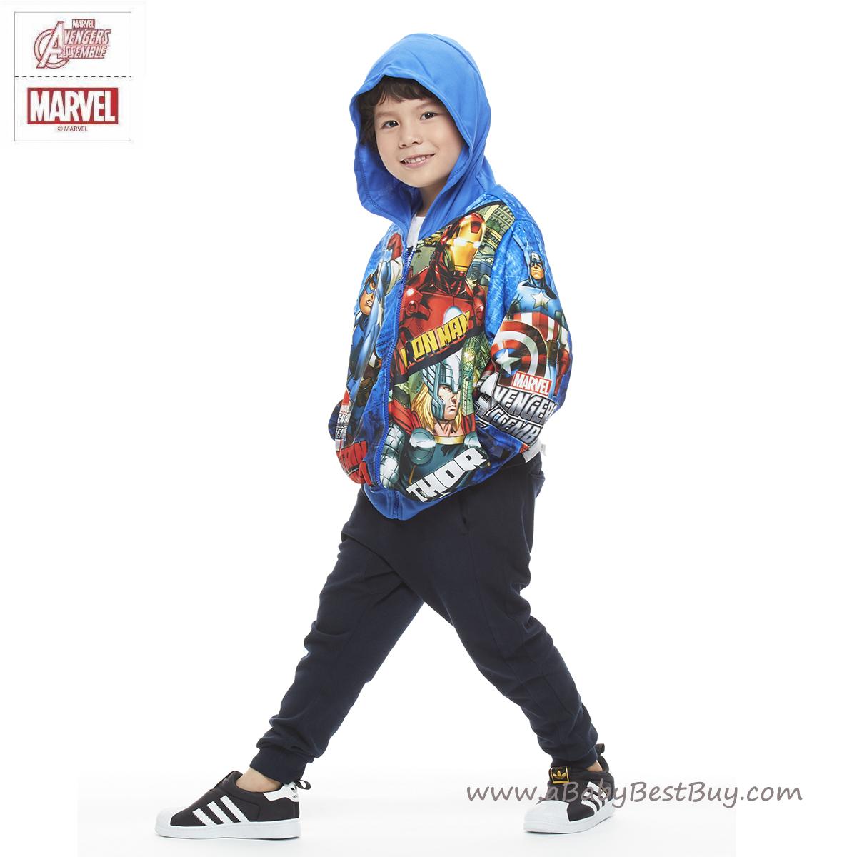 """""""( S-M-L-XL ) เสื้อแจ็คเก็ต เสื้อกันหนาวแขนยาว เด็กผู้ชาย สกรีนลาย Super Hero - The Avengers สีน้ำเงิน รูดซิป มีหมวก(ฮู้ด) ใส่คลุมกันหนาว กันแดด สุดเท่ห์ ใส่สบาย ลิขสิทธิ์แท้ (ไซส์ S-M-L-XL )"""