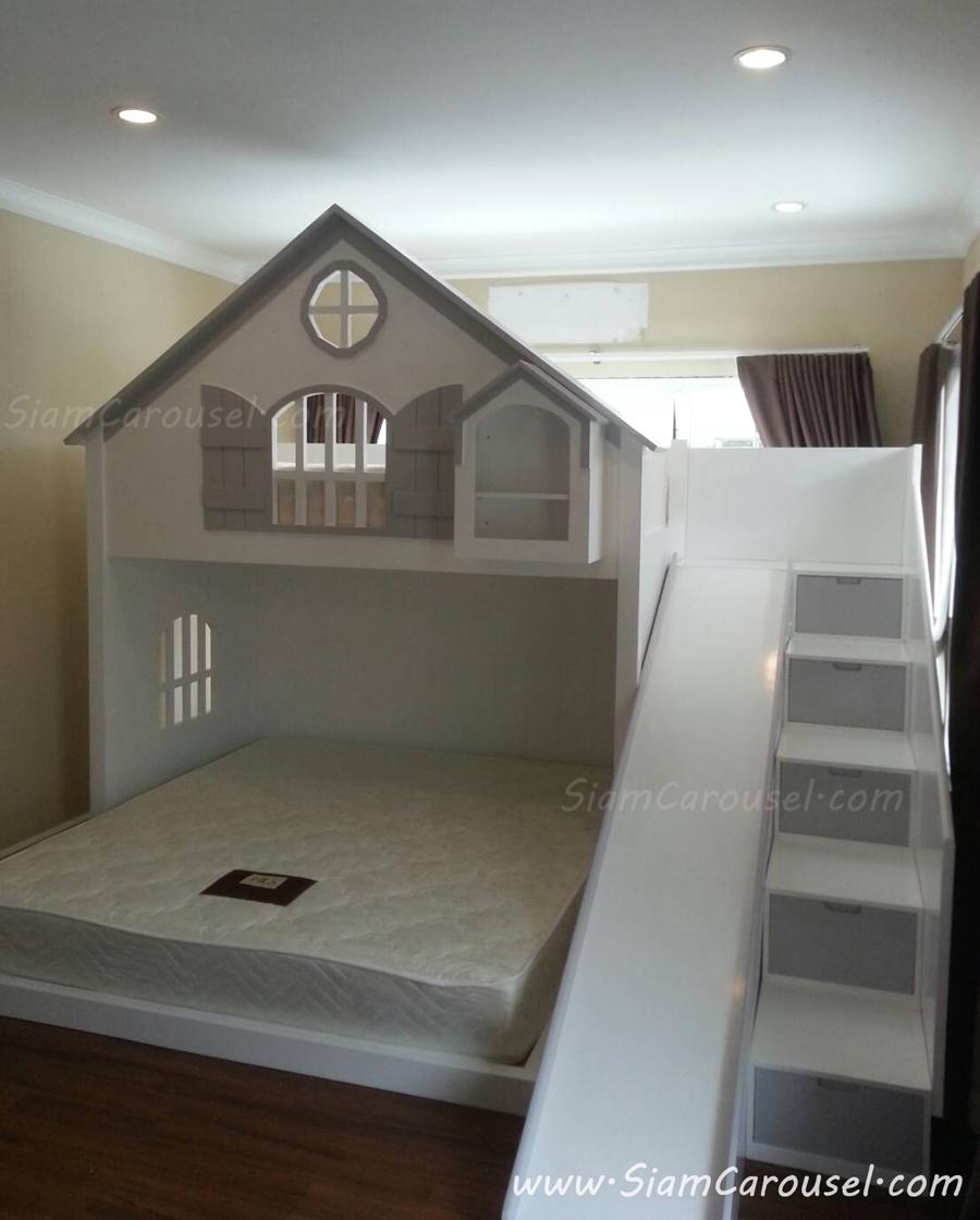 เตียง 2 ชั้น ทรงบ้าน พร้อมขั้นบันไดแบบลิ้นชักเก็บของ+สไลเดอร์ ของคุณภรณ์ทิพย์ หมู่บ้านซีนเนอรี่ สมุทรสาคร
