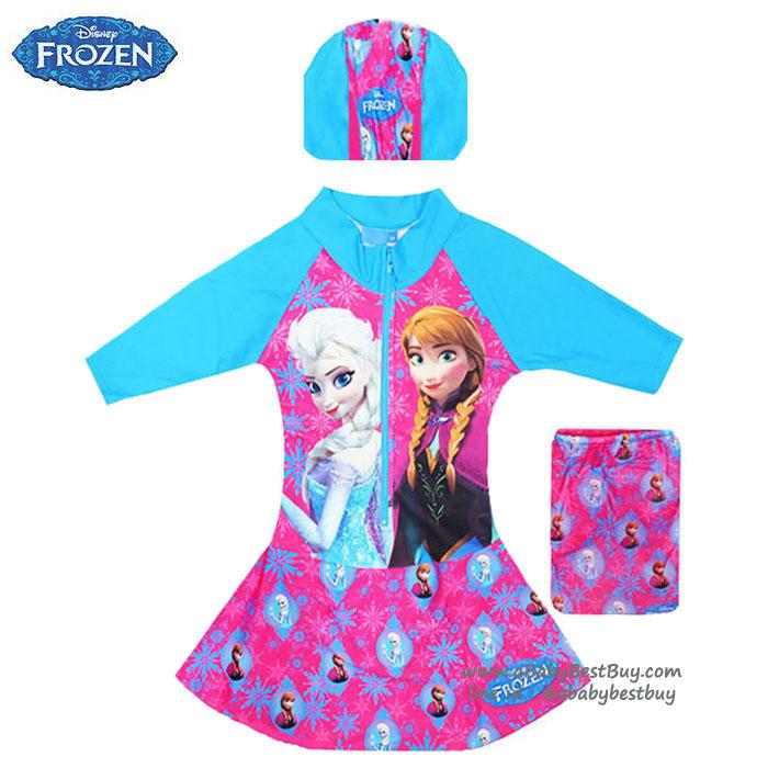 ฮ Size XS - ชุดว่ายน้ำ เด็กผู้หญิง Disney Frozen บอดี้สูท สีชมพู เสื้อแขนยาว กระโปรงกางเกง สกรีนลาย เจ้าหญิง อันนา เอลซ่า มาพร้อมหมวกว่ายน้ำและถุงผ้า สุดน่ารัก ใส่สบาย ดิสนีย์แท้ ลิขสิทธิ์แท้ (สำหรับเด็กอายุ 6เดือน-2 ปี)