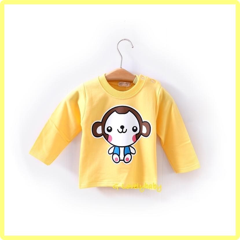 เสื้อผ้าเด็ก เสื้อเด็ก เสื้อเด็กแขนยาว เสื้อเด็กหญิง เสื้อเด็กชาย เสื้อเด็กลายการ์ตูน เสื้อยืดเด็กแขนยาวคอกลมไหล่กระดุม ไซต์ L
