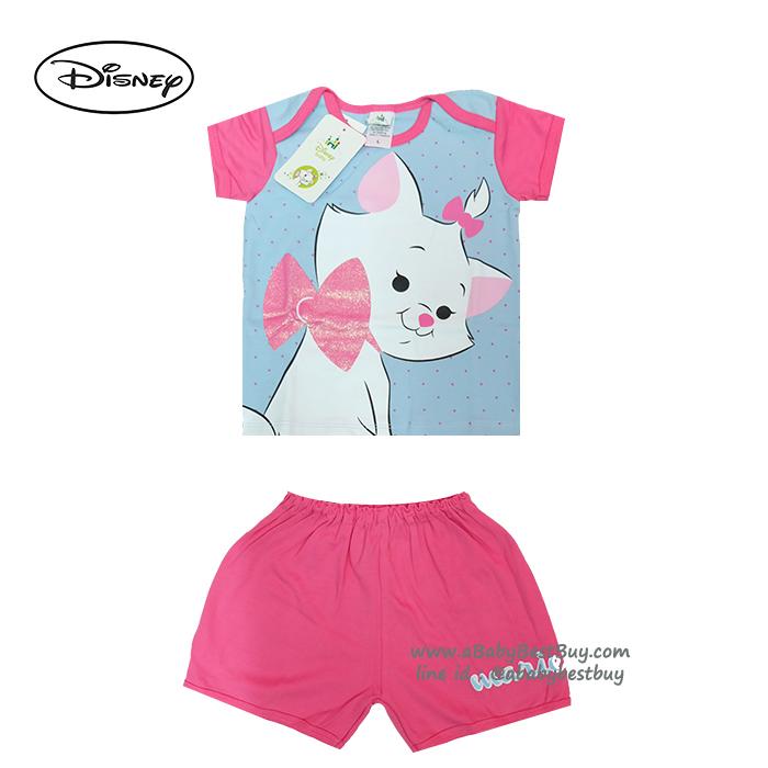 ( S-M-L ) ชุดนอนเด็ก ชุดนอนเบบี้ Disney Marie เสื้อแขนสั้นสีฟ้า กางเกงขาสั้นสีชมพูสุดน่ารัก ดิสนีย์แท้ ลิขสิทธิ์แท้ (สำหรับเด็กอายุ 0-24 เดือน)