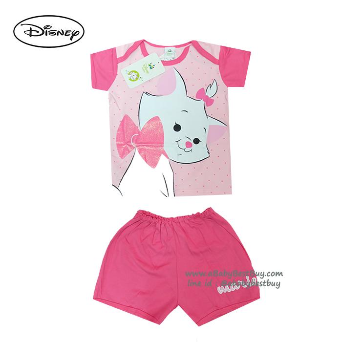 ( S-M-L ) ชุดนอนเด็ก ชุดนอนเบบี้ Disney Marie เสื้อแขนสั้นสีชมพู กางเกงขาสั้นสีชมพูสุดน่ารัก ดิสนีย์แท้ ลิขสิทธิ์แท้ (สำหรับเด็กอายุ 0-24 เดือน)