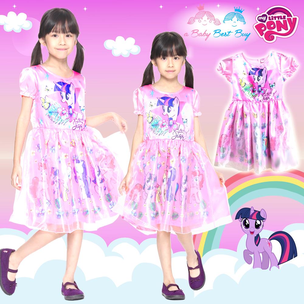 """"""" ( 4-6-8-10 ปี ) ชุดเดรส My Little Pony สีชมพู แขนสั้น ลายทไวไลท์ สปาร์เคิล ลิขสิทธิ์ฮาสโบแท้ โพนี่แท้ (สำหรับเด็ก4-6-8-10 ปี)"""