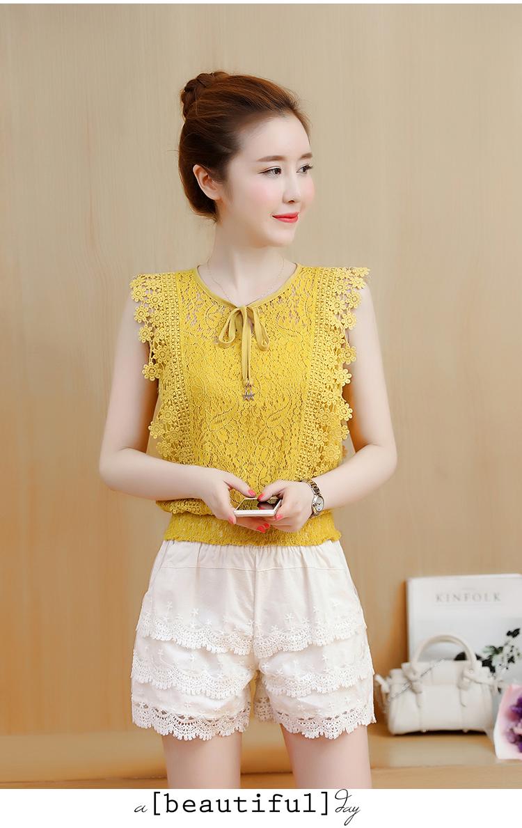 KTFN เสื้อลูกไม้แฟชั่นเกาหลี มีสายผูกโบว์ปลายห้อยจี้รูปดาว สม๊อกเอว สีเหลือง
