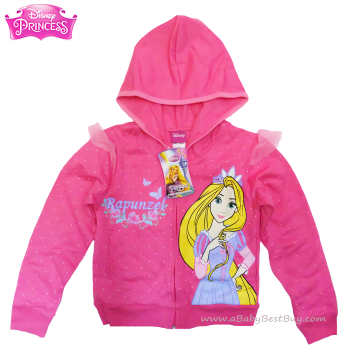 """ฮ """"Size 4-6-8-10-12-14"""" Jacket Disney Rapuzel เสื้อแจ็คเก็ต เสื้อกันหนาวแขนยาว เด็กผู้หญิง สกรีนลายเจ้าหญิงราพันเซล สีชมพูเข้ม รูดซิป มีหมวก(ฮู้ด)ใส่คลุมกันหนาว กันแดด ใส่สบาย ดิสนีย์แท้ ลิขสิทธิ์แท้"""