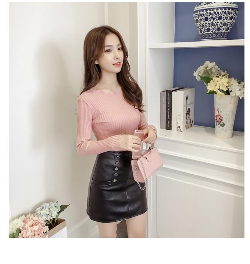เสื้อแฟชั่นเกาหลี คอและปลายแขนลายหยัก สีชมพู